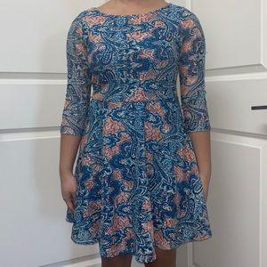 Forever 21 Blue Long Sleeve Patterned Dress